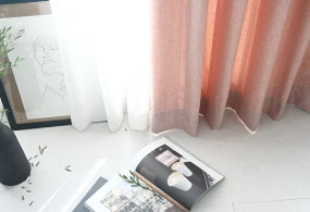 BRUSHED HERRINGBONE CURTAIN (PINK)