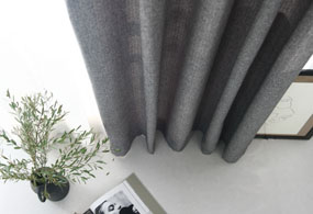 BRUSHED HERRINGBONE CURTAIN (GRAY)